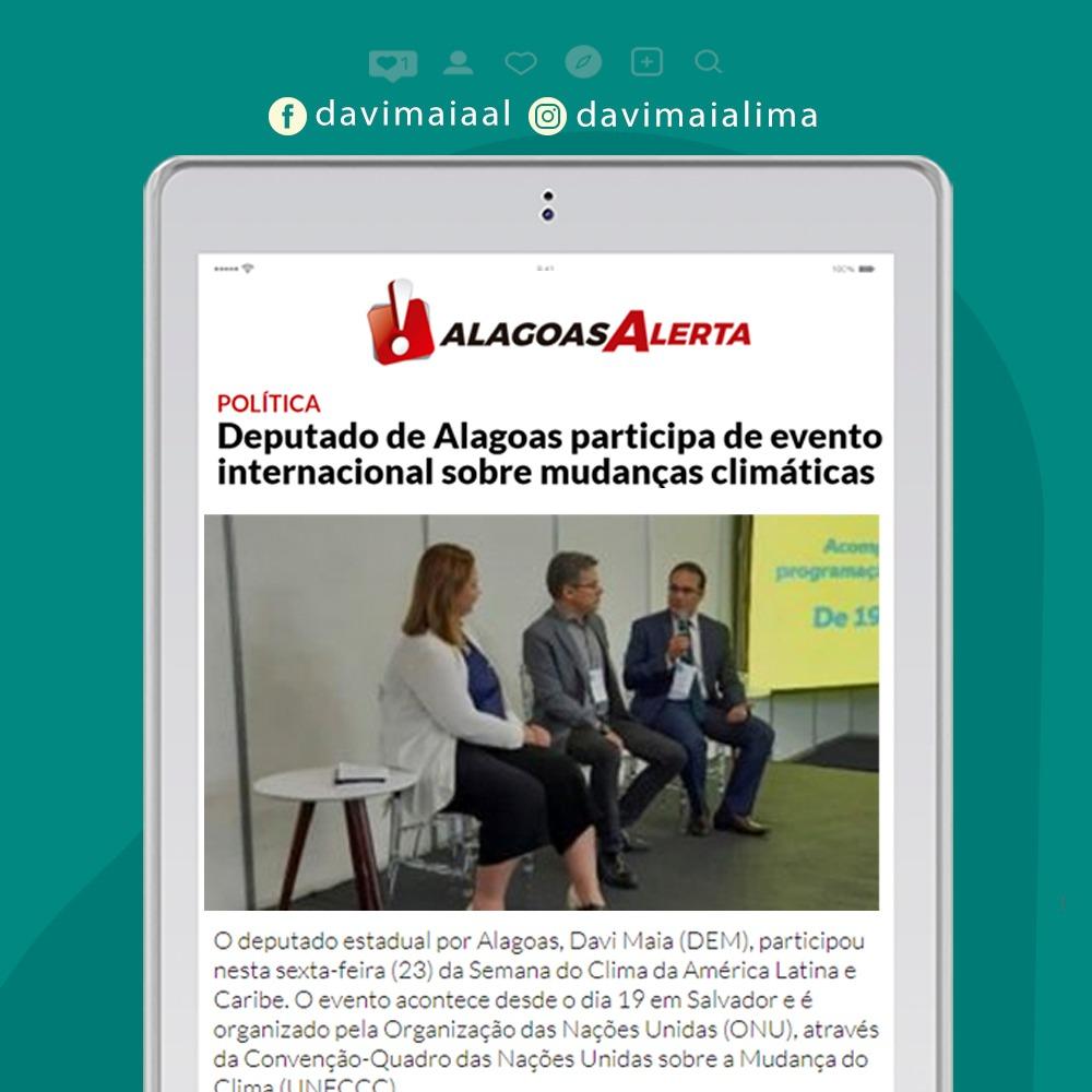 Deputado de Alagoas participa de evento internacional sobre mudanças climáticas