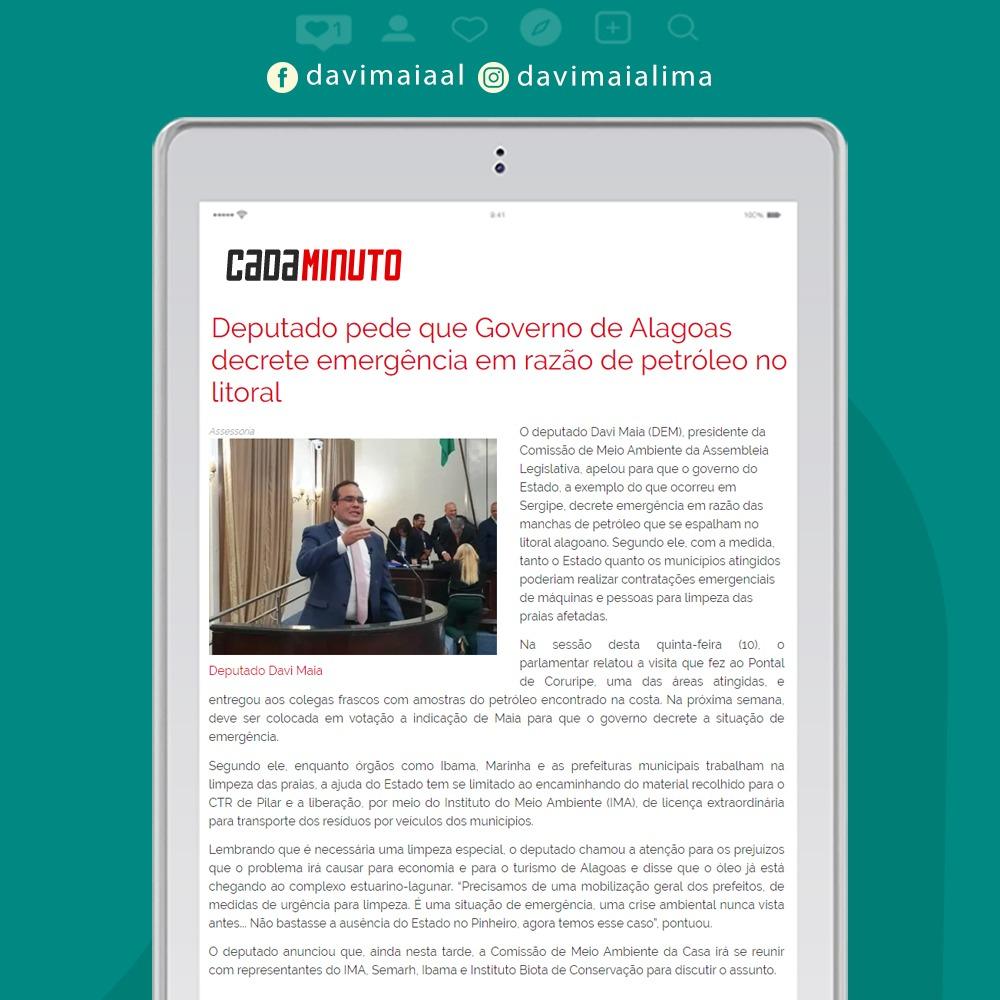 Deputado pede que Governo de Alagoas decrete emergência em razão de petróleo no litoral