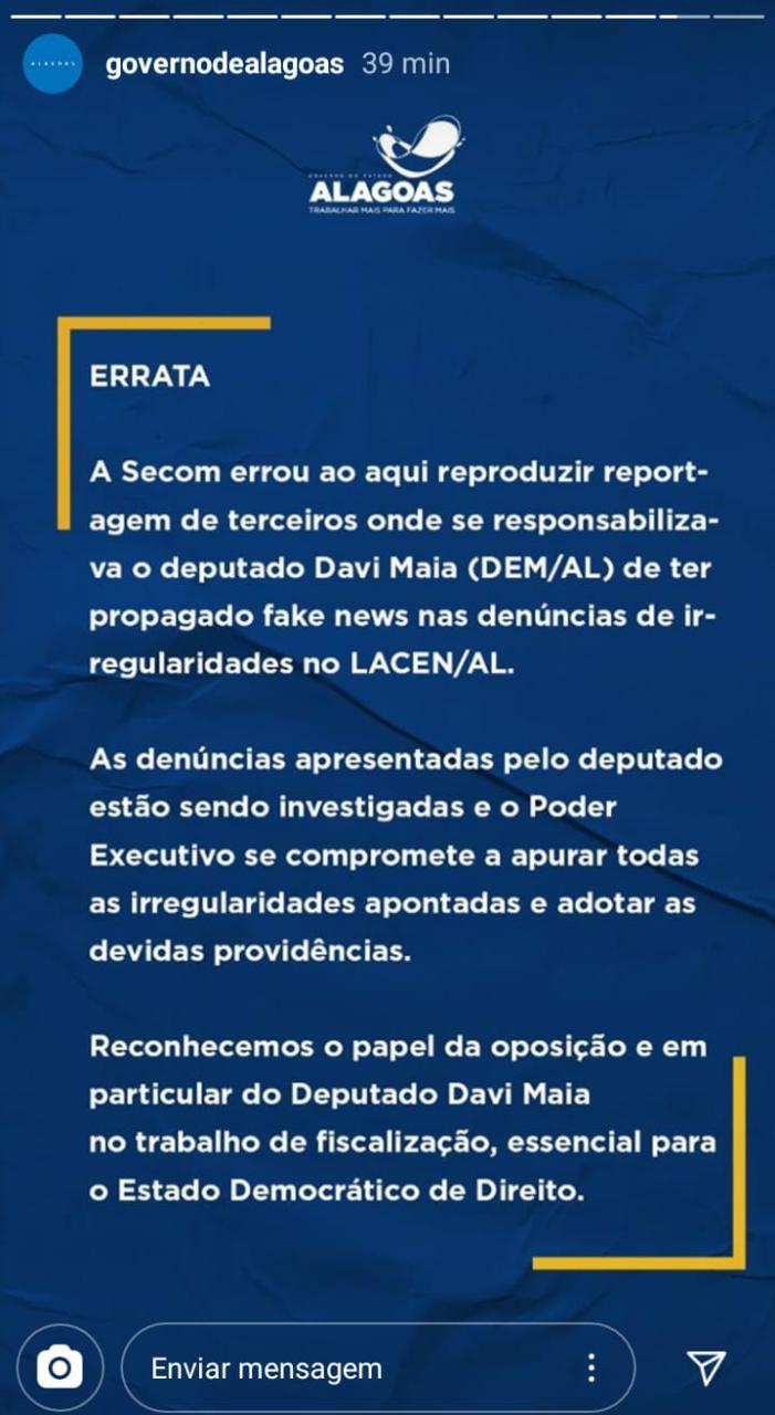 Governo confirma que divulgou notícia falsa sobre o deputado Davi Maia