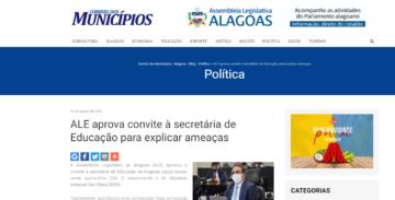 CORREIO DOS MUNICÍPIOS: ALE aprova convite à secretária de Educação para explicar ameaças