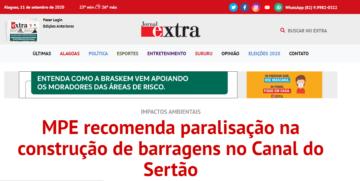 EXTRA: MPE recomenda paralisação na construção de barragens no Canal do Sertão